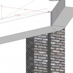CAD drawing of heating duct around brick chimny
