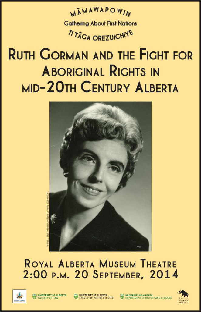 Ruth Gorman Lecture at Royal Alberta Museum Sept 20, 2014